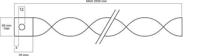 Turbulator mit Halterung und Bohrung Skizze